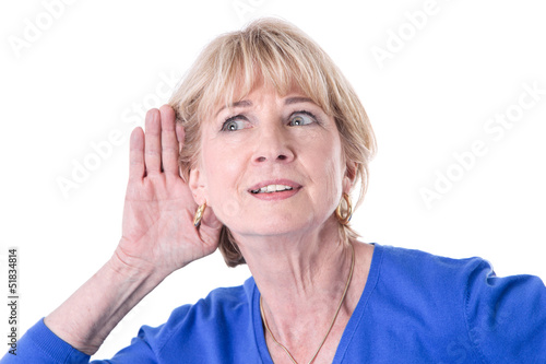 Older woman isoloted is hearing
