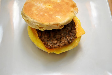 Delicious Breakfast Sandwich with Meat and Egg