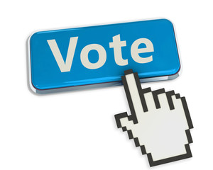 vote blue button and cursor hand on white background.