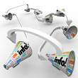 Info Bullhorns Megaphones Spreading Information Communication