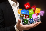 Man holding business infographic mobile applications