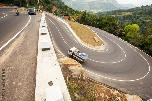 Curved asphalt road in mountains of Sri Lanka - 51838665