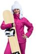 Smiling female snowboarder