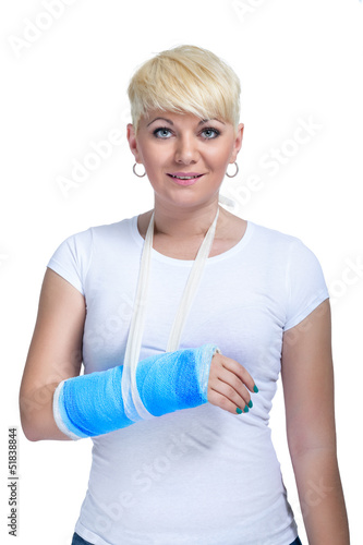 Female patient with broken arm
