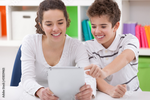 Happy children with tablet pc