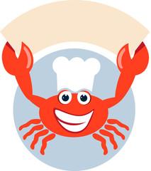 Rote Krabbe hält Schild hoch