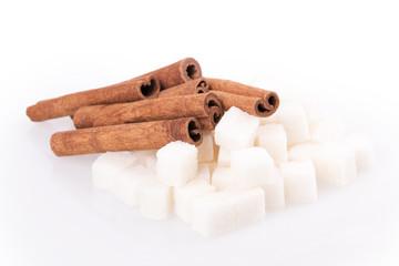cubes of sugar and cinnamon