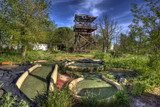 Wood tower. Abandoned water park
