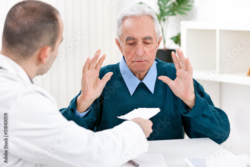 Shocked patient with prescription