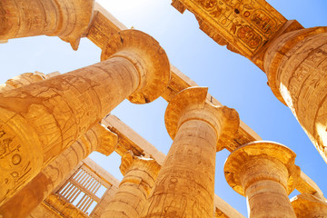Pillars of the Great Hypostyle Hall in Karnak Temple, Egypt