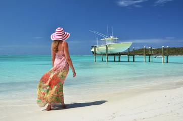 Girl on the beach. Exuma, Bahamas