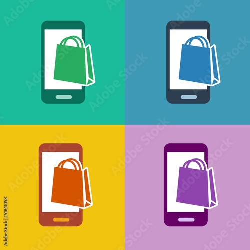flat design icons - mobile shopping