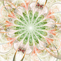 Spring-themed soft fractal flower, digital artwork