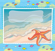 Orange starfish on a sea background