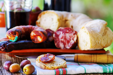 Bread, meat and portuguese wine