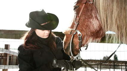 girl cowboy and horse