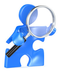 Search. Puzzle people with Magnifying Glass. Blue.