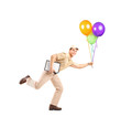 Full length portrait of a mailman delivering balloons