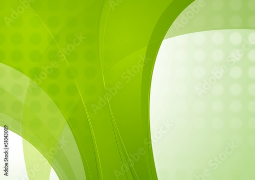 Bright green vector waves template