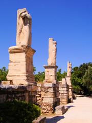 Ancient statue ruins at the Agora, Athens, Greece