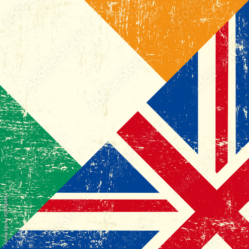 Irish and UK grunge flag