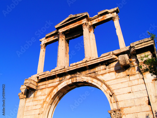 Upward view of the ancient Hadrian's Arch, Athens. Greece