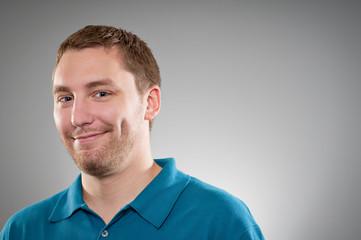 Caucasian Man  Shy Smile Portrait