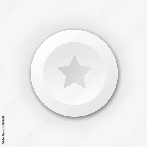 White plastic button with star