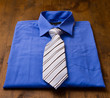New blue man's shirt and tie