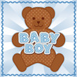 Baby Boy Teddy Bear. Blue polka dot letters, rick rack frame.