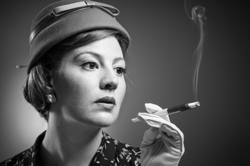 Cigarette Smoking Retro Woman
