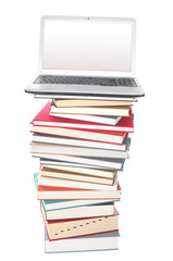 Notebook on a  stack of  books