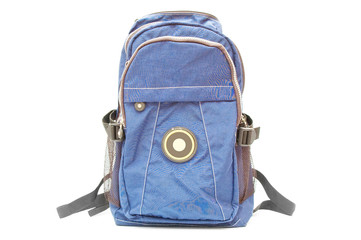 Blue bagpack on white background