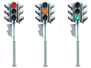 Three traffic lights on white background