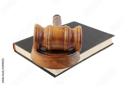 Judge's gavel land egal book isolated on white