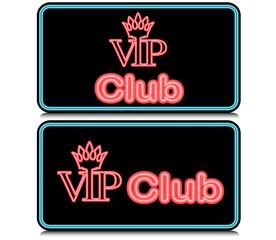 Neon VIP club icon.Vector