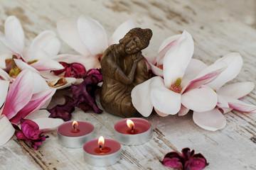 Buddha mit Magnolien