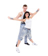 young fitness couple wearing jeans in the studio