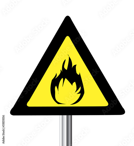 yellow triangle flammable warning sign