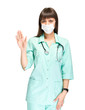 Young medical doctor or nurse making stop sign