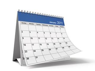 Folded January 2011 Desktop Calendar