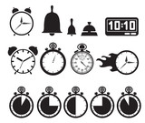 Icon set clocks, vector illustration