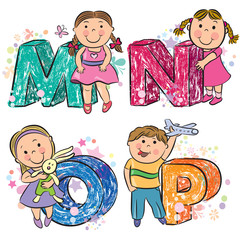 Funny alphabet with kids MNOP