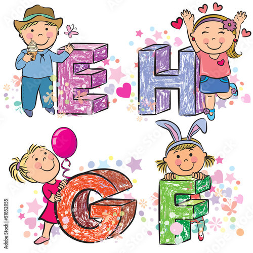 Funny alphabet with kids EFGH