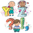 Funny alphabet with kids YZ