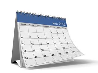 Folded March 2012 Desktop Calendar