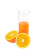 Glass with juice and orange isolated on white background
