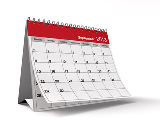 Folded September 2013 Desktop Calendar