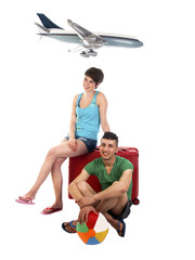 young couple goes on vacation waiting on aircraft