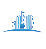 Real estate blue buildings logo